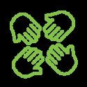 Team hands employment icon